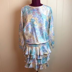 Vintage 80s/90s Drop Waist Tiered Party Dress